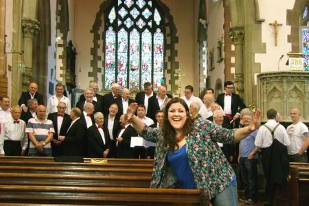 40.Leigh getting in the mood for a rehearsal at St Mary's Church Welshpool - 14th June