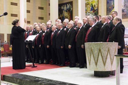 04A. The choir on stage at St Ambrose church for a joint performance with the Mersesywave choir 22/02/19