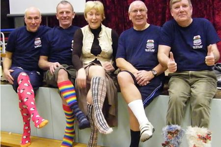 05.Dave Jones, Tudor Evans, Ann Atkinson, Martin Futcher and Tom Clayton pose for the  Sox Appeal for the Cancer Relief Wales Silly Sox Campaign