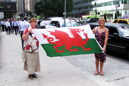 Pam Jones and Christine Wilkinson showing the Flag on Park Avenue - 23rd August.