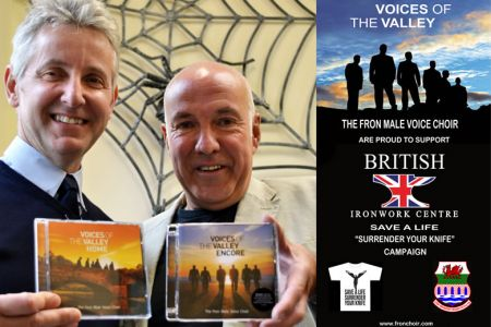 61.Clive Knowles of British Ironworks with Dave Jones. The Choir is supporting the Save a Life, Surrender your Knife Campaign.