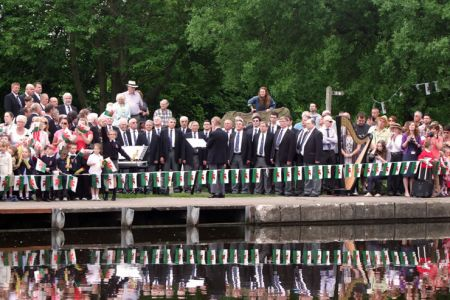 35.The Choir entertains the crowds at the Pontcysyllte Olympic Torch Ceremony - 30th May