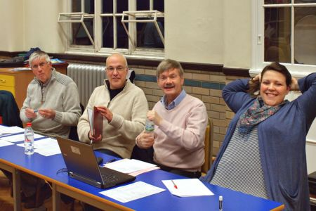 02.Barry (Secretary), Dave (Retiring Chairman), Allan (Treasurer) and Leigh (Conductor) - The AGM Top Table