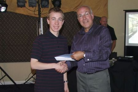 49.Dave Jones presenting Alex Hughes with a gift from the Choir at his 18th Birthday Party - 16th July