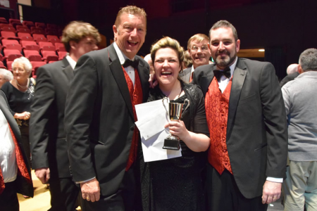 Leigh with the Male Choir Winners, Best Performance Winners and Best UK Choir awards