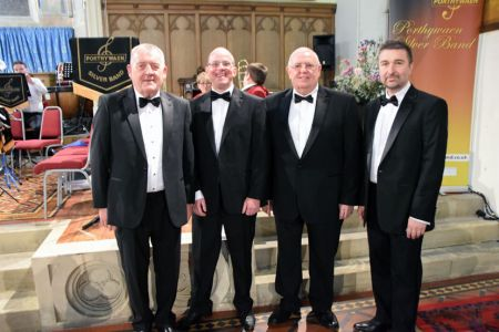 92.Colin Kinmond, Andrew Walker, Merfyn Barker and Anthony Jackson (LtoR) at their first concert as full members of the Choir