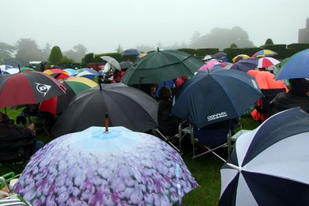 A very wet but dedicated audience at the Wrexham Year of Culture Concert at Chirk Castle - 12th June.