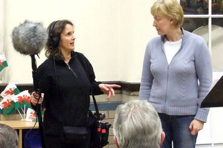 14.Sandra Sykes from BBC Radio 4 recording Background Music in Choir Practice on the 10th of March for a programme about Pontcysyllte Aqueduct.