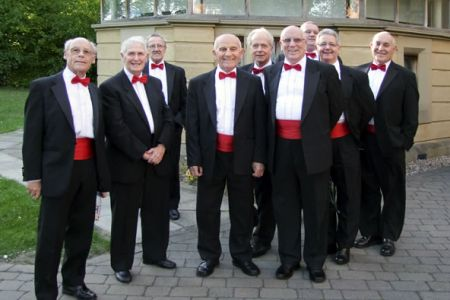 33.Ron, Malcolm, Gren, Len, Roger, Martin, Howard, Steve and Dave in the grounds of St Emmanuel's Church ready for a concert for Loughborough University Arts - 22nd May