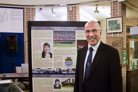 14.Dave Jones with one of the Exhibition Boards in Llangollen Museum