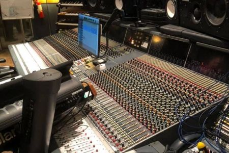 03A. The Studio set up where the choir recorded a backing track for rock Violinist Daisy Jopling. 09/02/19