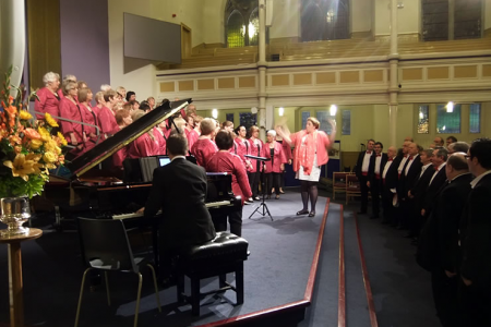 Joint practice with the Aberdeen Sweet Adelines for the joint finale.