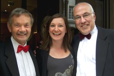 18.Allan Smith and Dave Jones with Louise Ringrose (Decca Records) in London for the launch of the Classical Brit Awards - 12th April