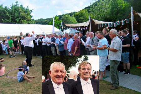 Fron Choir members (Colin and Steve in full Pavarotti outfits) join a World Record setting  performance of Nessun Dorma by 82 tenors on the Llangollen Eisteddfod field.