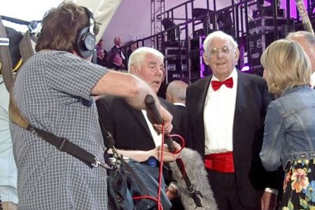 46.Bryn and Evan give an interview to S4C as the choir line up backstage