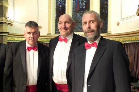 27.Wayne Pugh (centre) at his first concert with the Choir as a full member with Dave Preston and George Dowswell.