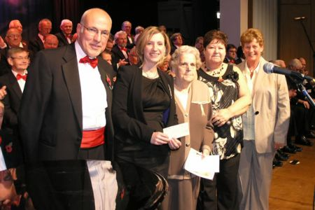 65.Ladies Committee presenting £1,000 to the Air Ambulance at the Wrexham Concert -13th November