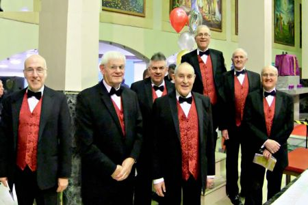 08.Dave L, Rolly, Dave, David, Graham, David and Phil (The Oswestry Mob) at St Ambrose Church Speke  for a concert with The Mersey Wave Choir - 19th February