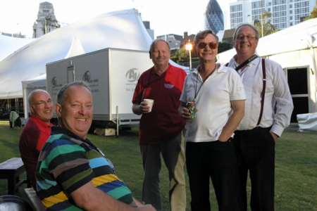 Dave, Berwyn, Cyril, Allan and Paul take a backstage Tea break