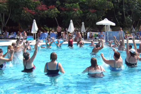 Aqua Aerobics in the pool proved very popular every morning