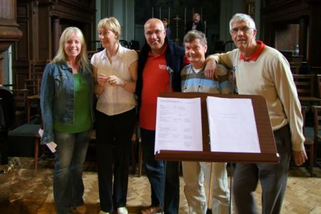 31.A.J. Pearce (left) Commissioning client for Freemantle Home Entertainment with Ann, Dave, Allan & Barry The concert at St Jude's was filmed for a DVD, Voices of the Valley - Live