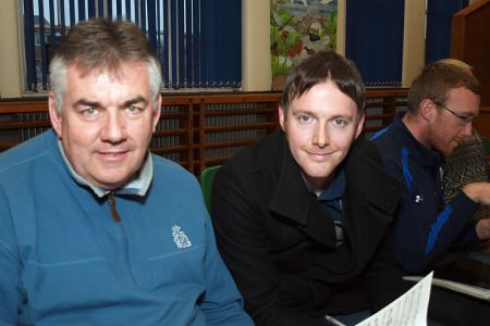 17.Dave Preston with Oswestry and Border Counties Advertizer reporter Daniel Heald who was visiting Choir Practice - 2nd April