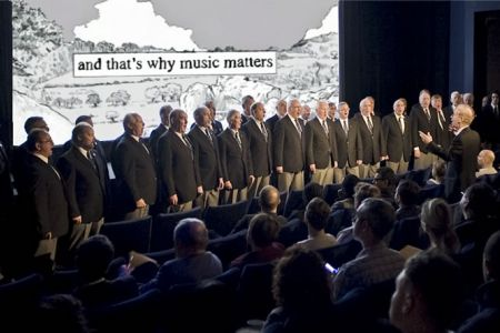 17.Performing the soundtrack Mae Hen Wlad Fy Nhadau to the Music Matters campaign short film about the Fron Choir.