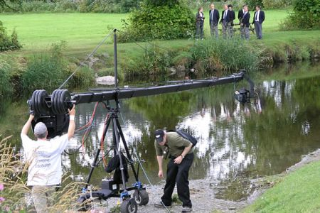 Boom Camera and crew at Llanfair Talhaiarn.