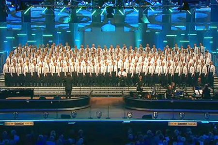 Taking part in the massed choir at the opening concert of the National Eisteddfod of Wales held in Wrexham - 29th July