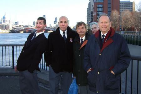 Steve Thomas, Dave Jones, Allan Smith, Malcolm Davies and Cyril Jones on the South Bank