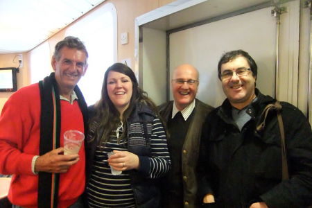 Wynn, Leigh, Phil Wilkinson (2nd tenor probationer) and Jez at the Ship's Bar