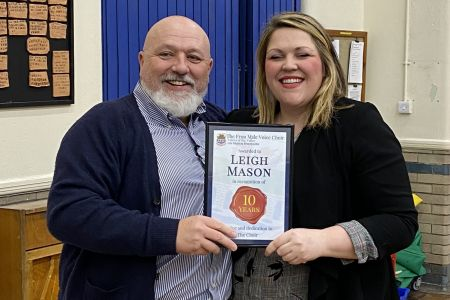 02f Leigh Mason receives her long service award for ten years as musical director