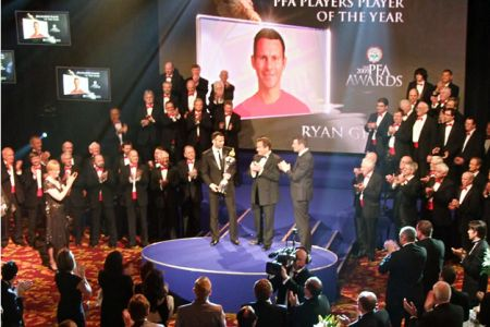 20.The Professional Footballers Association Awards Ceremony at the Grosvenor House Hotel London. The award for the Players' Player of the Year was made to Ryan Giggs and the Choir performed at the presentation - 26th April.