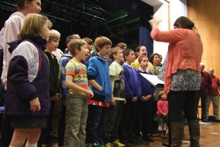 The Grandchildren practice with the Choir at the Wm. Aston Hall in Wrexham - 14th November