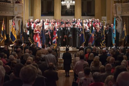60.Standards Parade in George's Hall Liverpool at the finale of the Royal British Legion The Somme & Beyond concert - 1st July