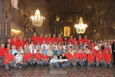 Group photograph in the underground Cathedral