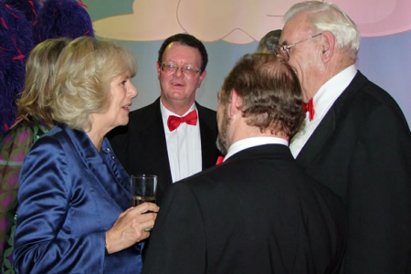 Camilla - Duchess of Cornwall - chatting to the line up lads