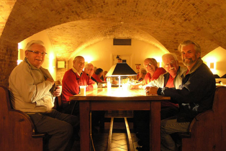 Tegwyn, David, Glyn, Martin, Bob and Fraser at Tea Break in the cellars of the Henry Wood Hall