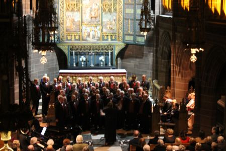 56.aChoir in concert at the ladies chapel in Liverpool Anglican Cathedral