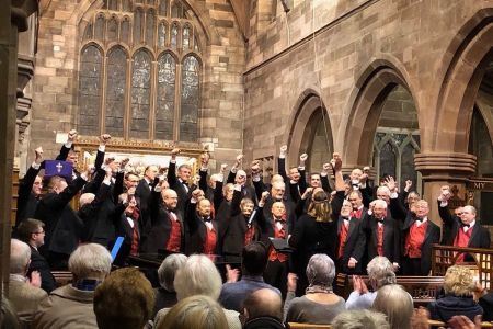 05d. The choir finish their performance in St Wilfrids Grappenhall with when the saints and punch the air at the end of a great concert