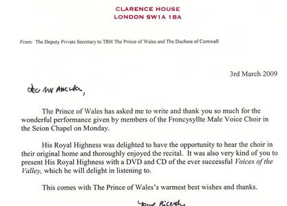 16.A letter of appreciation on behalf of Prince Charles
