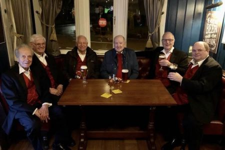03e. Some of the choir enjoying a drink after a very enjoyable night with our friends the Mersey Wave choir