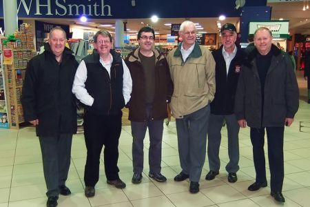 01.Berwyn, Dave T, Jez, Rolly, Rod and Cyril at Oxford Services en route to Mortlake for Daniel's Aunt Gloria's Funeral