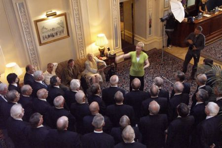 45.The Choir perfoming a selection of songs for Dame Vera Lynn in the Foyer of the Grand Hotel in Brighton.