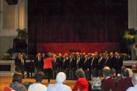 Entertaining the other choirs at the Villa Marina Social evening