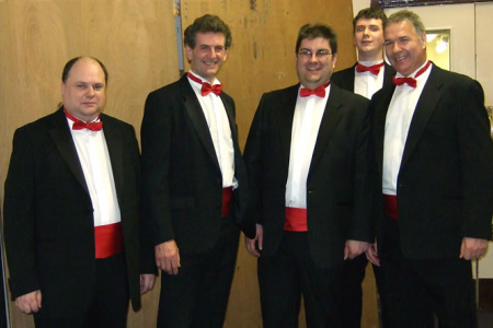 Neil Hayward, Wyn Morris, Colin Roberts, Matthew Hayward and Peter Lythe backstage at St Georges Concert Hall Bradford
