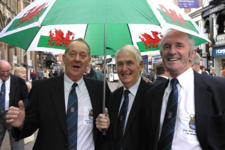 42.Berwyn Jones, Malcolm Davies and David Rogers-Hughes singing in the rain at the the BBC Culture Show's 15 minute Busking Challenge in Chester on the 19th July