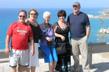 Nigel, Jill, Liz, Sonia and Geoff at Aphrodite's Rock