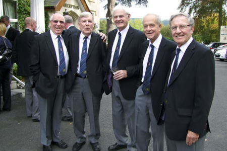 Martin, Tom, Rolly, Roger and Merfyn arriving for the launch at the White Waters Hotel in Llangollen.