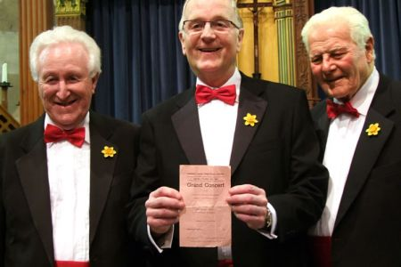 08.Graham Burgess (center) joins the Choir as a full Member at the Whitchurch Concert 50 years after his last appearance with the Choir